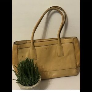 💋Coach Handbag Shoulder Bag Tote Yellow Leather
